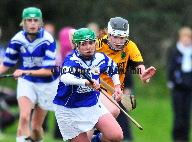 Kilmaley's Clare Mc Mahon in action against Four Roads. Photrograph by Declan Monaghan