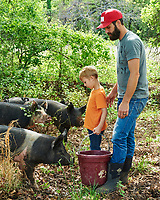 Josh McCullock and his son feed the pigs