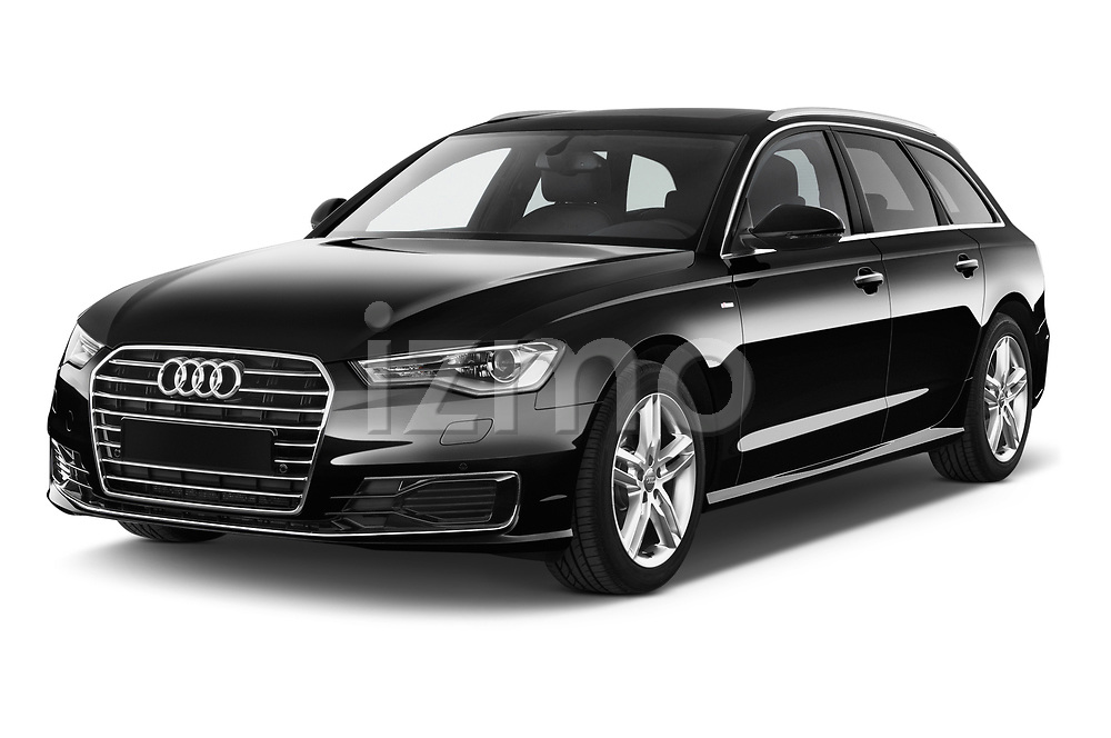 2015 Audi A6 S Line 5 Door Wagon angular front stock photos of front three quarter view