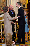 Queen Sofia, King Juan Carlos, King Felipe VI of Spain and Princess Leonor of Spain attend the Order of Golden Fleece (Toison de Oro), ceremony at the Royal Palace. January 30,2018. (ALTERPHOTOS/Pool)
