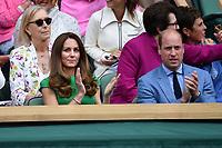 10th July 2021. Wilmbledon, SW London England. Wimbledon Tennis Championships 2021, Ladies singles final Ashleigh Barty versus  Karolina Pliskova (Czech);  Duchesse Kate Middleton and Prince Harry