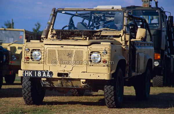 Miltary Land Rover 110 Wolf on display at a Land Rover show. NO RELEASES AVAILABLE. Automotive trademarks are the property of the trademark holder, authorization may be needed for some uses.
