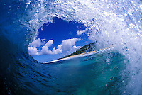 Looking out from beneath the  wave at Pipeline
