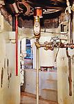 Vintage mechanics. Steam geneator,steam turbine, Seattle, WA, Georgetown Steam Plant, a National Historic Landmark in Seattle, WA USA