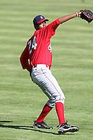 Spokane Indians pitcher Victor Payano #24 before a game against the Salem-Keizer Volcanoes at Volcanoes Stadium on August 10, 2011 in Salem-Keizer,Oregon. Salem-Keizer defeated Spokane 7-6.(Larry Goren/Four Seam Images)