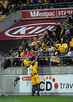 Captain Hurricane mixes with fans during the Super Rugby match between the Hurricanes and Southern Kings at Westpac Stadium, Wellington, New Zealand on Friday, 25 March 2016. Photo: Dave Lintott / lintottphoto.co.nz
