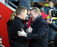 Pictured L-R: Swansea manager Garry Monk greeted by Southampton manager Ronald Koeman Sunday 01 February 2015<br />