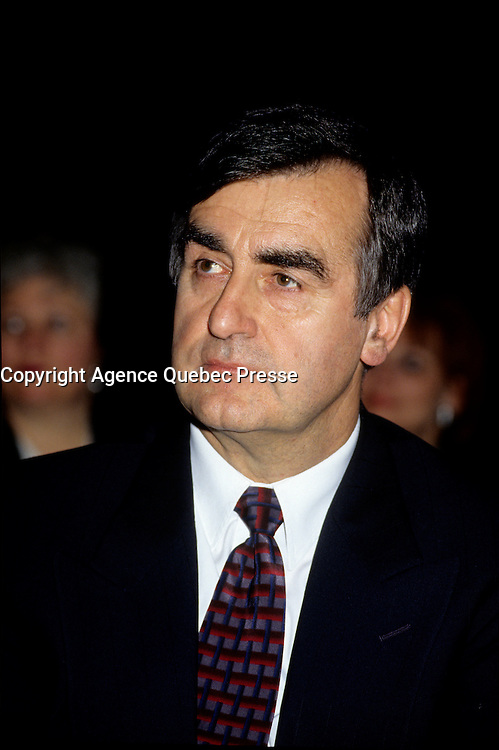 """Montreal (Qc) CANADA - File Photo - Jan 1996 -<br /> <br /> Lucien Bouchard,  Leader Parti Quebecois (from Jan 29, 1996 to March 2, 2001). seen in a file photo<br /> <br /> After the Yes side lost the 1995 referendum, Parizeau resigned as Quebec premier. Bouchard resigned his seat in Parliament in 1996, and became the leader of the Parti QuÈbÈcois and premier of Quebec.<br /> <br /> On the matter of sovereignty, while in office, he stated that no new referendum would be held, at least for the time being. A main concern of the Bouchard government, considered part of the necessary conditions gagnantes (""""winning conditions"""" for the feasibility of a new referendum on sovereignty), was economic recovery through the achievement of """"zero deficit"""". Long-term Keynesian policies resulting from the """"Quebec model"""", developed by both PQ governments in the past and the previous Liberal government had left a substantial deficit in the provincial budget.<br /> <br /> Bouchard retired from politics in 2001, and was replaced as Quebec premier by Bernard Landry."""