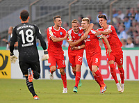 19.08.2018, Football DFB Pokal 2018/2019, 1. round, Tsv 1860 Muenchen - Holstein Kiel, Gruenwalderstadium Muenchen.  Alexander Muehling (2.v.re, Kiel)  1:2, and Jannik Dehm (3.v.re, Kiel). re: Mathias Honsak (Kiel).<br /><br /><br />***DFB rules prohibit use in MMS Services via handheld devices until two hours after a match and any usage on internet or online media simulating video foodaye during the match.*** *** Local Caption *** © pixathlon<br /> <br /> Contact: +49-40-22 63 02 60 , info@pixathlon.de