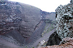 Mount Vesuvius at the summit, looking down into the active crater