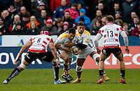 Photo: Richard Lane/Richard Lane Photography. Gloucester Rugby v Wasps. Aviva Premiership. 05/03/2016. Wasps' George Smith attacks with Charles Piutau in support.
