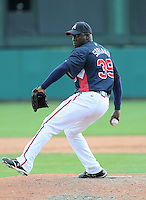 15 March 2009: RHP Rafael Soriano (39) of the Atlanta Braves throws in a game against the Houston Astros at the Braves' Spring Training camp at Disney's Wide World of Sports in Lake Buena Vista, Fla. Photo by:  Tom Priddy/Four Seam Images