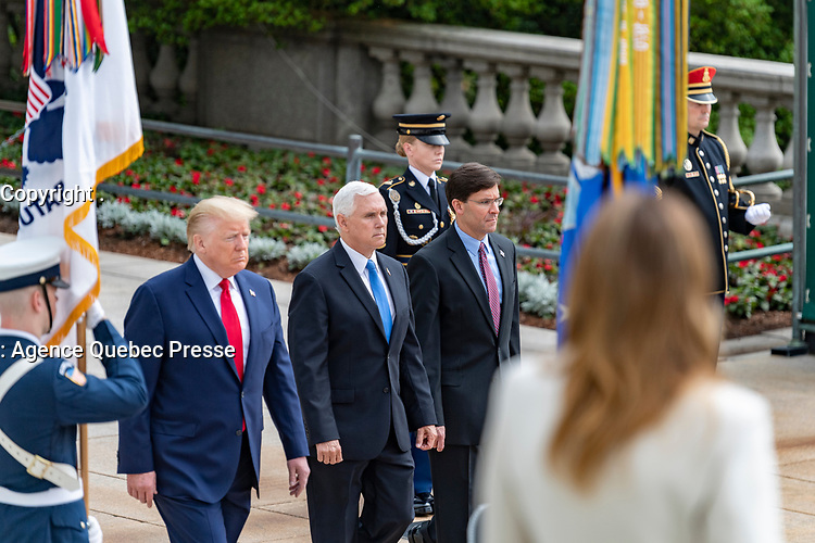 President Donald Trump; Vice Presient Mike Pence; and Secretary of Defense Mark Esper, conduct a Presidential Armed Forces Full Honors Wreath-Laying Ceremony in observance of Memorial Day at Arlington National Cemetery, Arlington, Virginia, May 25, 2020. This was the 152nd Memorial Day wreath-laying and observance ceremony at Arlington National Cemetery. (U.S. Army photo by Elizabeth Fraser / Arlington National Cemetery / released)