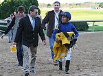 HOT SPRINGS, AR - MARCH 19: Jimmy Barnes (right) and jockey Martin Garcia talk following Cupid's victory in the Rebel Stakes at Oaklawn Park on March 19, 2016 in Hot Springs, AR. (Photo by Ciara Bowen/Eclipse Sportswire/Getty Images)