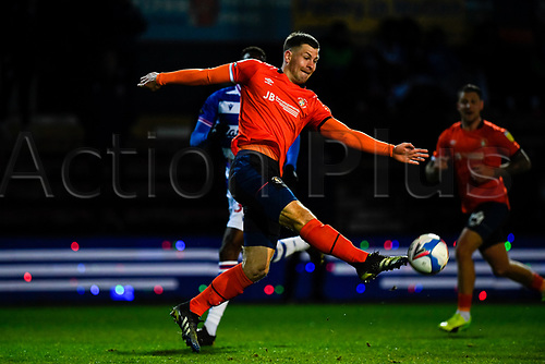 21st April 2021; Kenilworth Road, Luton, Bedfordshire, England; English Football League Championship Football, Luton Town versus Reading; James Collins of Luton Town takes a shot on goal