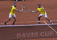 BOGOTÁ - COLOMBIA, 02-02-2019:Juan Sebastián Cabal  y Robert Farah tenistas de Colombia en acción contra Eriksson Markus y Lindstedt  Robert tenistas  de Suecia durante el primer encuentro por los Qualifiers de la Copa Davis por BNP Paribas buscando un cupo para las finales en Madrid jugado en la cancha del Palacio de los Deportes./Juan Sebastián Cabal and Robert Farah tennis players from Colombia in action against Eriksson Markus and Lindstedt Robert tennis players from Sweden during the Davis Cup Qualifiers firts match by BNP Paribas looking for a place for the finals in Madrid played in the Palace of Sports court. Photo: VizzorImage / Felipe Caicedo / Staff.
