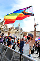 Demonstration in Piazza del Popolo organized for many associations Lgbtqia and femminists, for the approval of the Zan bill, born to contrast the homostransphobia and any kind of racist violence. <br /> Rome (Italy), May 15th 2021<br /> Photo Samantha Zucchi Insidefoto