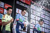 Champagne shower podium:<br /> <br /> 1st place - Thomas Boudat (FRA/Total - Direct Energie)<br /> 2nd place - Baptiste Planckaert (BEL/Wallonie Bruxelles)<br /> 3th place - Niki Terpstra (NED/Direct Energie)<br /> <br /> Circuit de Wallonie 2019<br /> One Day Race: Charleroi – Charleroi 192.2km (UCI 1.1.)<br /> Bingoal Cycling Cup 2019