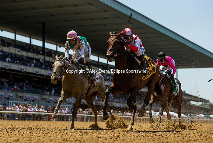 June 5, 2021: Search Results, #6, ridden by Javier Castellano, wins the Acorn Stakes on Belmont Stakes Day at the Belmont Stakes Festival at Belmont Park in Elmont, New York. Alex Evers/Eclipse Sportswire/CSM