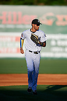 Jackson Generals right fielder Victor Reyes (5) jogs back to the dugout during a game against the Chattanooga Lookouts on April 27, 2017 at The Ballpark at Jackson in Jackson, Tennessee.  Chattanooga defeated Jackson 5-4.  (Mike Janes/Four Seam Images)