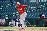 Jordan Lawlar (11) tosses his bat after getting walked during the Baseball Factory All-Star Classic at Dr. Pepper Ballpark on October 4, 2020 in Frisco, Texas.  Jordan Lawlar (11), a resident of Irving, Texas, attends Jesuit College Preparatory School of Dallas.  (Mike Augustin/Four Seam Images)