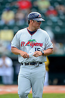 Fort Myers Miracle manager Doug Mientkiewicz #16 during a game against the Bradenton Marauders at McKechnie Field on April 7, 2013 in Bradenton, Florida.  Fort Myers defeated Bradenton 9-8 in ten innings.  (Mike Janes/Four Seam Images)