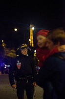 20/04/2017, Paris, France - Terror Attack Champs Elysee, police officer and suspect shot dead on Champs Elysees in attack claimed by Islamic State, one tourist woman injured, another french police officer badly injured, Paris, France, father running aways with a child # FUSILLADE CONTRE DES POLICIERS SUR LES CHAMPS-ELYSEES