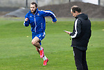 St Johnstone Training….21.10.20     <br />Stevie May pictured doing sprints with coach Alec Cleland during training at McDiarmid Park ahead of Saturday's game against Dundee United.<br />Picture by Graeme Hart.<br />Copyright Perthshire Picture Agency<br />Tel: 01738 623350  Mobile: 07990 594431