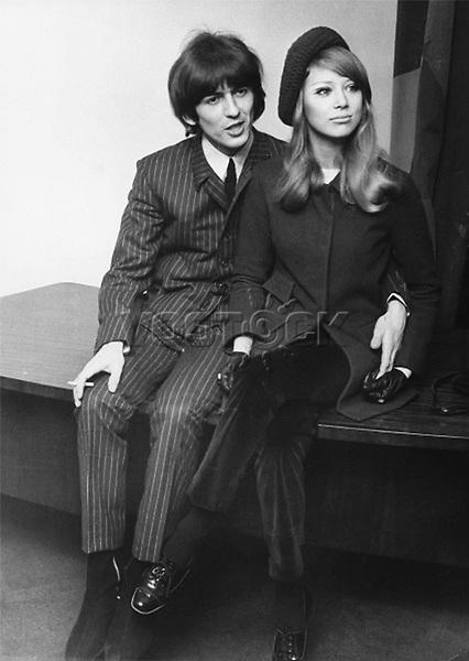 Newlyweds Beatle George Harrison and Pattie Boyd in London, January 21, 1966.