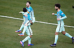 FC Barcelona's Luis Suarez (l), Leo Messi (c) and Andre Gomes celebrate goal during Spanish Kings Cup semifinal 1st leg match. February 01,2017. (ALTERPHOTOS/Acero)
