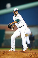 Vermont Lake Monsters pitcher Kristopher Hall #43 during the NY-Penn League All-Star Game at Eastwood Field on August 14, 2012 in Niles, Ohio.  National League defeated the American League 8-1.  (Mike Janes/Four Seam Images)