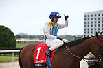 March 14, 2020: Jockey Joel Rosario celebrating after winning the Rebel Stakes at Oaklawn Racing Casino Resort in Hot Springs, Arkansas on March 14, 2020. Justin Manning/Eclipse Sportswire/CSM