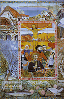 """Europe/France/Bretagne/29/Finistère/Pont-Aven: Détail d'un ancien panneau de promotion touristique en céramique peinte faisant référence au célèbre tableau de Paul Gauguin:""""le Christ Jaune"""""""