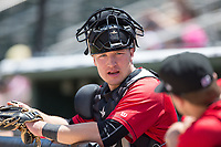 Kannapolis Intimidators catcher Nate Nolan (22) prior to the game against the Asheville Tourists at Kannapolis Intimidators Stadium on May 7, 2017 in Kannapolis, North Carolina.  The Tourists defeated the Intimidators 4-1.  (Brian Westerholt/Four Seam Images)