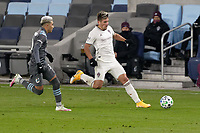 ST PAUL, MN - NOVEMBER 22: Diego Rubio #11 of Colorado Rapids goes for the ball during a game between Colorado Rapids and Minnesota United FC at Allianz Field on November 22, 2020 in St Paul, Minnesota.