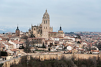 Walled city skyline, Segovia, Spain, Europe