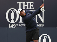 13th July 2021; The Royal St. George's Golf Club, Sandwich, Kent, England; The 149th Open Golf Championship, practice day; Harold Varner III (USA) hits his tee shot on the opening hole
