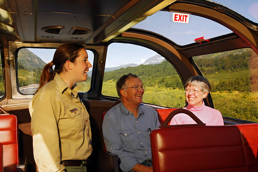 Forest Sevice employee onboard the Alaska Railroad Glacier Discovery Train, Chugach National Forest, Alaska.