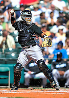 13 March 2010: Toronto Blue Jays' catcher Jose Molina in action during a Spring Training game against the Atlanta Braves at Champion Stadium in the ESPN Wide World of Sports Complex in Orlando, Florida. The Blue Jays shut out the Braves 3-0 in Grapefruit League action. Mandatory Credit: Ed Wolfstein Photo