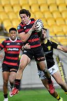 Josh McKay of Canterbury catches the ball  during the Bunnings NPC - Wellington v Canterbury at Sky Stadium, Wellington, New Zealand on Friday 8 October 2021.<br /> Photo by Masanori Udagawa. <br /> www.photowellington.photoshelter.comto