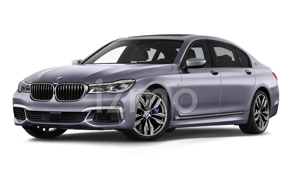 Stock pictures of low aggressive front three quarter view of a 2018 BMW 7 Series M760 Li 4 Door Sedan