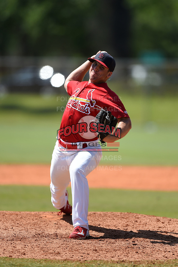 St. Louis Cardinals pitcher Kevin Herget (19) during a minor league spring training game against the Miami Marlins on March 31, 2015 at the Roger Dean Complex in Jupiter, Florida.  (Mike Janes/Four Seam Images)