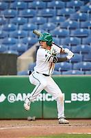 Tulane Green Wave Collin Burns (2) bats during a game against the Houston Cougars on May 25, 2021 at BayCare Ballpark in Clearwater, Florida.  (Mike Janes/Four Seam Images)