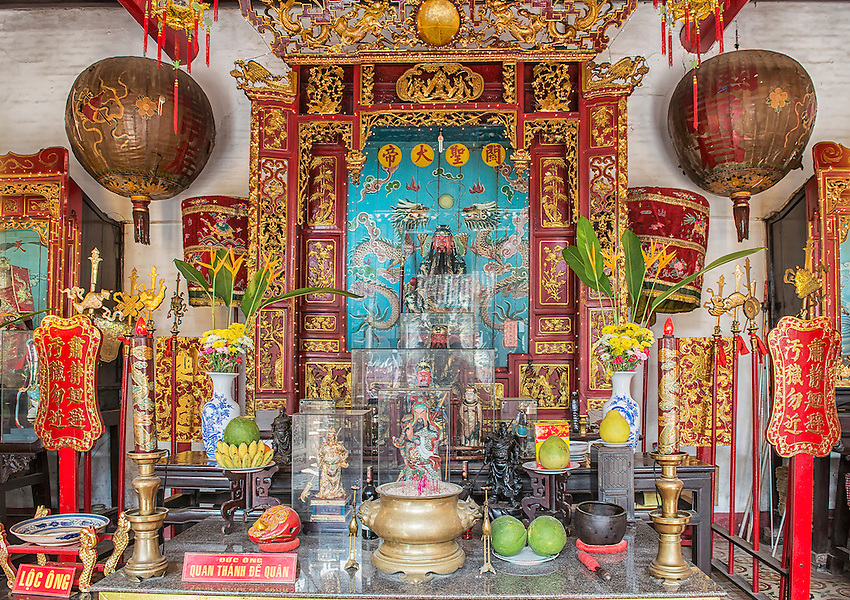 An altar inside the Assembly Hall of the Cantonese Chinese Congregation, Hoi An