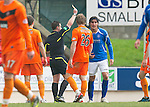 St Johnstone v Dundee Utd....21.04.12   SPL.Fran Sandaza is sent off by ref Euan Norris.Picture by Graeme Hart..Copyright Perthshire Picture Agency.Tel: 01738 623350  Mobile: 07990 594431