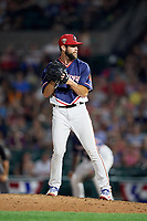 Rochester Red Wings relief pitcher Jake Reed (40) gets ready to deliver a pitch during a game against the Pawtucket Red Sox on July 4, 2018 at Frontier Field in Rochester, New York.  Pawtucket defeated Rochester 6-5.  (Mike Janes/Four Seam Images)