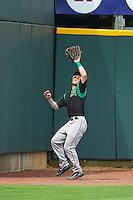 Dayton Dragons left fielder Shane Mardirosian (13) catches a fly ball during a game against the Cedar Rapids Kernels on July 24, 2016 at Perfect Game Field in Cedar Rapids, Iowa.  Cedar Rapids defeated Dayton 10-6.  (Mike Janes/Four Seam Images)