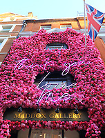 London's Maddox Gallery in Mayfair has a tradition of magnificent pieces of floral art decorating it's exterior to coincide with the seasons and their exhibitions<br /> They have just completed their latest piece of artwork 'I think you love me', to celebrate the upcoming St Valentines Day on February 14th and to present their latest 'Love and Other Crimes,' exhibition of love-themed works by some of the world's most successful and instantly recognisable artists including Banksy, The Connor Brothers, Damien Hirst, Harland Miller, Mr Brainwash, Robert Indiana, Tracey Emin and more.<br /> The exhibition opens on February 7th until February 28th<br /> <br /> Photo by Keith Mayhew