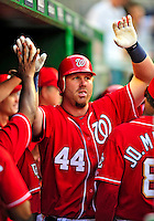 6 June 2009: Washington Nationals' left fielder Adam Dunn gets congratulated after hitting his 17th home run of the season, a two-run dinger in the first inning against the New York Mets at Nationals Park in Washington, DC. The Nationals defeated the Mets 7-1, marking pitcher John Lannan's first complete game of his career. Mandatory Credit: Ed Wolfstein Photo