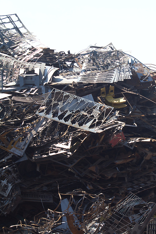 Scrap metal, export to Asia, Port of Tacoma, Schnitzer Steel, metals recycler, Hylebos Waterway, Tacoma, Commencement Bay, Puget Sound, Washington State, Pacific Northwest, USA,
